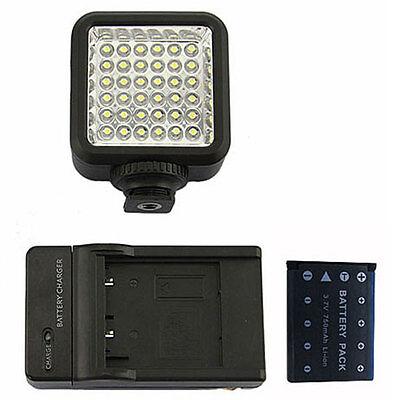 36 LED Video Light Lamp + Battery + Charger For DV Camcorder Nikon Canon DSLR