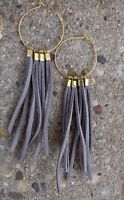 4 L Light Gray Suede Leather Brass Bead Gold Plated Hoop Boho Earrings Fringe