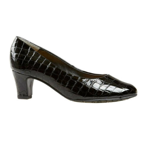 Ladies Classic Court Shoe Van Dal Watt Black Croc Patent UK Size 4.5 5.5 7