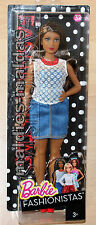 BARBIE FASHIONISTAS GLAM Party con Denim abito CURVY dpx68 Nuovo/Scatola Originale Bambola