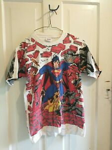 Vintage Superman Anvil Youth L Single Stitch 90s Made in USA T-Shirt Tee vtg