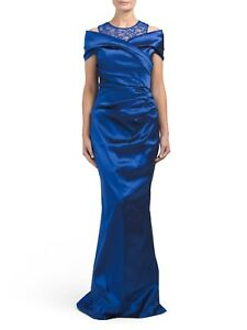 05b2a4f01044 NWT Rickie Freeman for Teri Jon Royal Blue Ruched Off Shoulder Lace ...