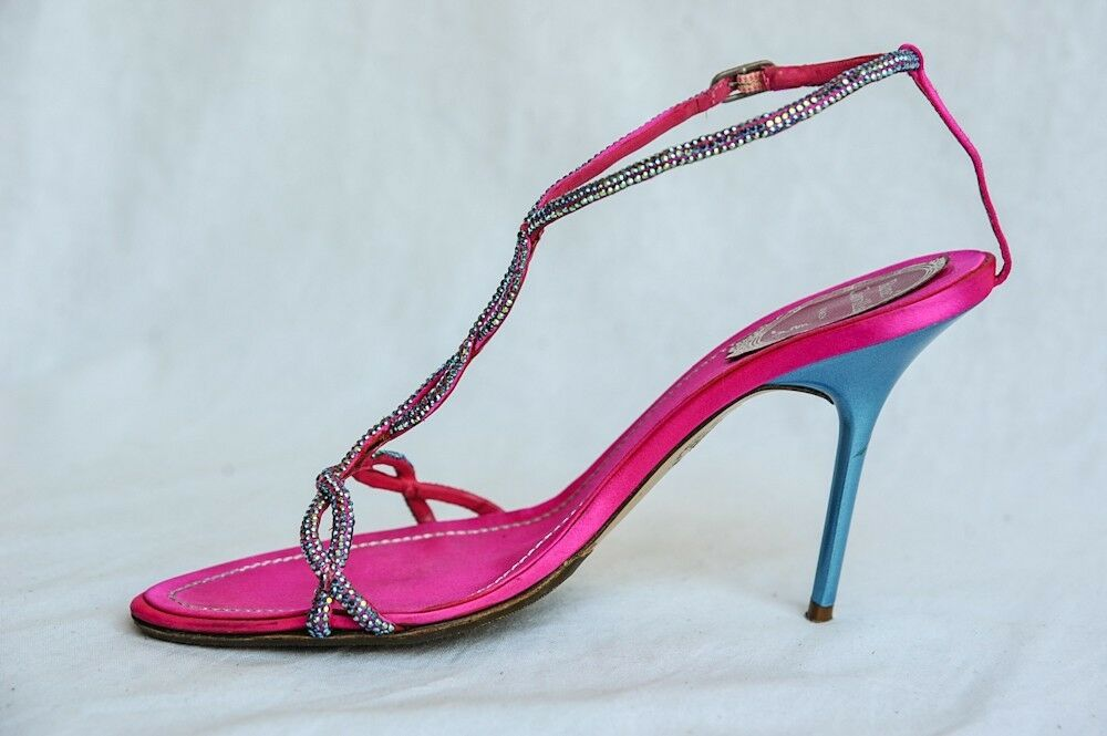 Rene Caovilla Mujer Satén rosado Turquesa Cristal Sandalia de de de Tiras Manoletinas  descuento de ventas
