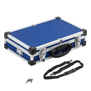 Werkzeugkiste-Alurahmenkoffer-blau-Schutzkoffer-Gurt-Schluessel-ca-40x25x10cm
