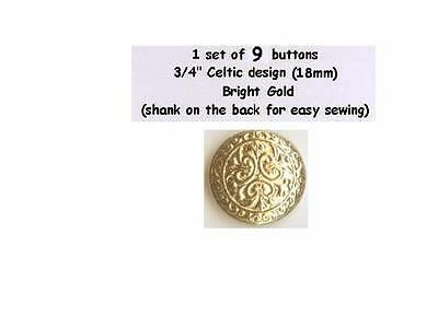 """9 Celtic Metal Buttons 3/4"""" Bright Gold Brass Shank 18mm- Costumes Theater"""