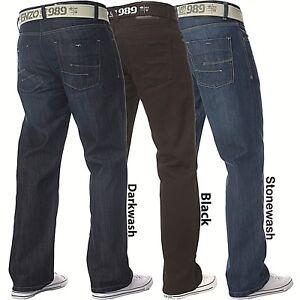 Enzo-Mens-Designer-Jeans-Blue-Black-Loose-Fit-Denim-Free-Belt-All-Waist-Sizes