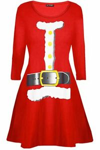 Ladies-Christmas-Gifts-Reindeer-Womens-Xmas-Flared-Santa-Face-Mini-Swing-Dress