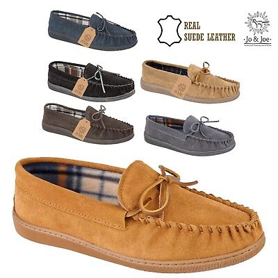 MENS NEW ENGLAND SUEDE LEATHER MOCCASIN SLIPPERS LOAFERS WARM LINED SHOES SIZES