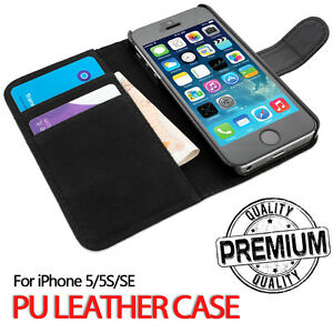 For-Apple-iPhone-5S-SE-Genuine-Flip-Wallet-Leather-Case-Cover-B43