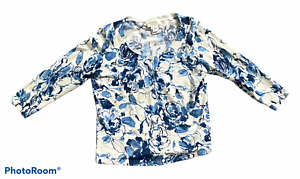 Woman's TALBOTS Blue White Blue Floral Cardigan Sweater 3/4 Sleeve Petite Size P