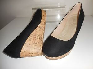 f2ea83a8e89 Black Faux Suede Wedge Shoes Size UK 8 Wide Fit (EEE) BNWT ~~ Evans ...