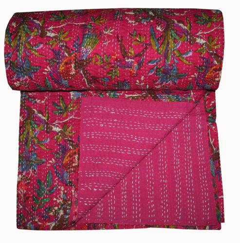 Pink Bird Reversible Queen Kantha Quilt Indian Vintage Handmade Blanket Throw