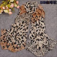 fashion women's Brown Leopard print pattern chiffon long shawl scarf