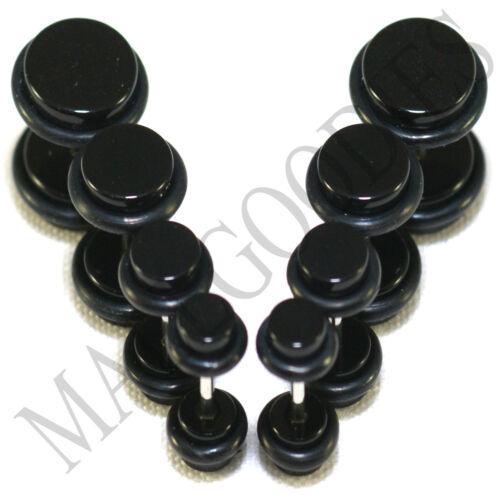 """V091 Faux TRICHEURS Illusion Plugs 4 G 2 G 0 G 00 G 7//16/"""" 1//2/"""" Noir 5 6 8 10 11 12 mm"""