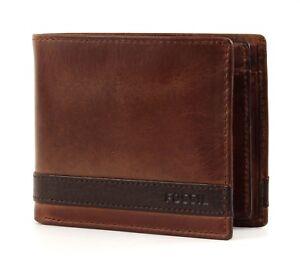 FOSSIL-Quinn-Large-Coin-Pocket-Bifold-Geldboerse-Portemonnaie-Herren-Braun-Brown