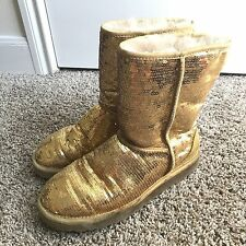 UGG Australia Gold Sequin Sheepskin Fur Winter Snow Boots Sparkle Bling Sz 10