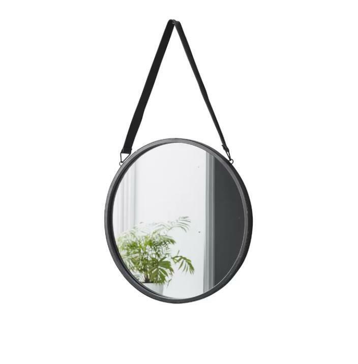 Mercury Row, Miroir Rond Bracelet en cuir noir à accrocher, cadre en métal H 40 X L 40 cm