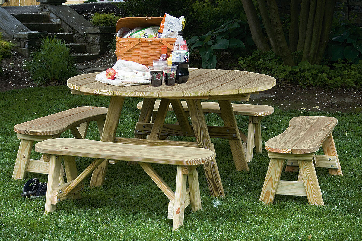 54 Pressure Treated Pine Round Picnic Table W 4 Curved Benches Amish Made Usa For Sale Online