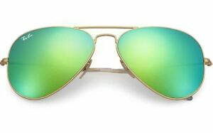 New-Ray-Ban-RB3025-112-19-Gold-Aviator-Sunglasses-w-Mirrored-Green-Lenses-58mm