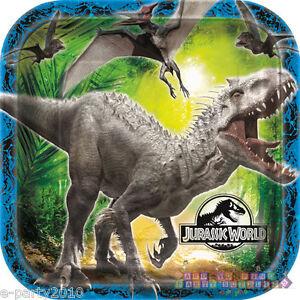 JURASSIC WORLD LARGE PAPER PLATES 8 Dinosaur Birthday Party