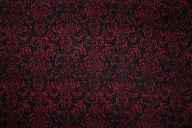 Cotton Sateen Gothic Regency Lace Effect Print Dress Fabric Material (Black/Red)