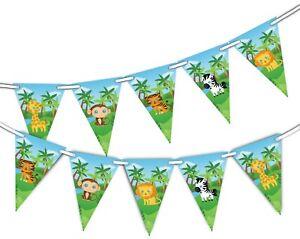 Safari-Animali-Carini-Bunting-15-Bandiere-Per-Decorazione-Unica-per-Festa-Decor