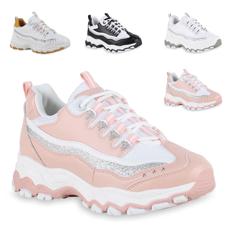 Damen Plateau Sneaker Chunky Turnschuhe Glitzer Freizeitschuhe 833608 Trendy