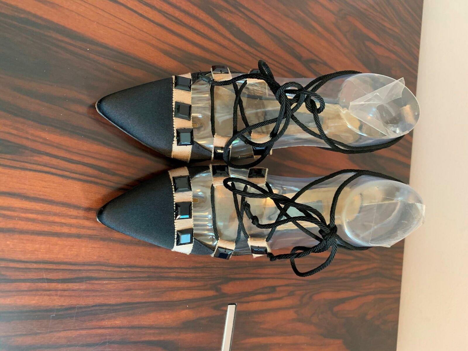 EUC ALBERTA FERRETTI Black Beige Silk Evening Shoes SZ IT 36/US 6