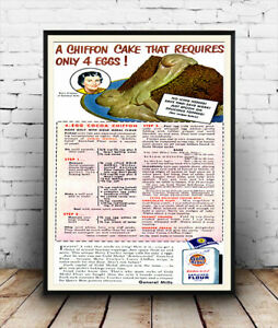 Chiffon-cake-old-Baking-magazine-advertising-Reproduction-poster-Wall-art