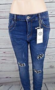 dunkelgrau Damen Slim Fit Baggy Style Jeans L7689 dark grey LEXXURY