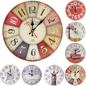 Vintage Style Silent Clock Antique Wood Wall Clock For Home Kitchen Wall Art Uk Ebay