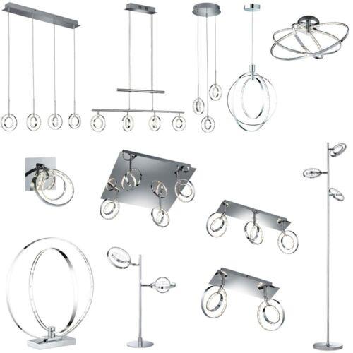 LED Design Wand Decken Pendel Hänge Lampe Leuchte Chrom Ringe Spots beweglich