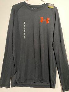 NWT-Mens-Under-Armour-Black-Orange-Loose-HeatGear-L-S-Shirt-Size-Medium