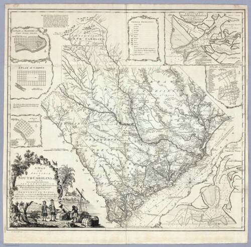1773 SC MAP Allendale Anderson County Andrews Arcadia Lakes Swansea SURNAMES BIG