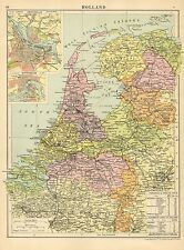 1929 MAP ~ HOLLAND ~ ENVIRONS AMSTERDAMN ROTTERDAM DISTANCES VIA TRAIN STEAMSHIP