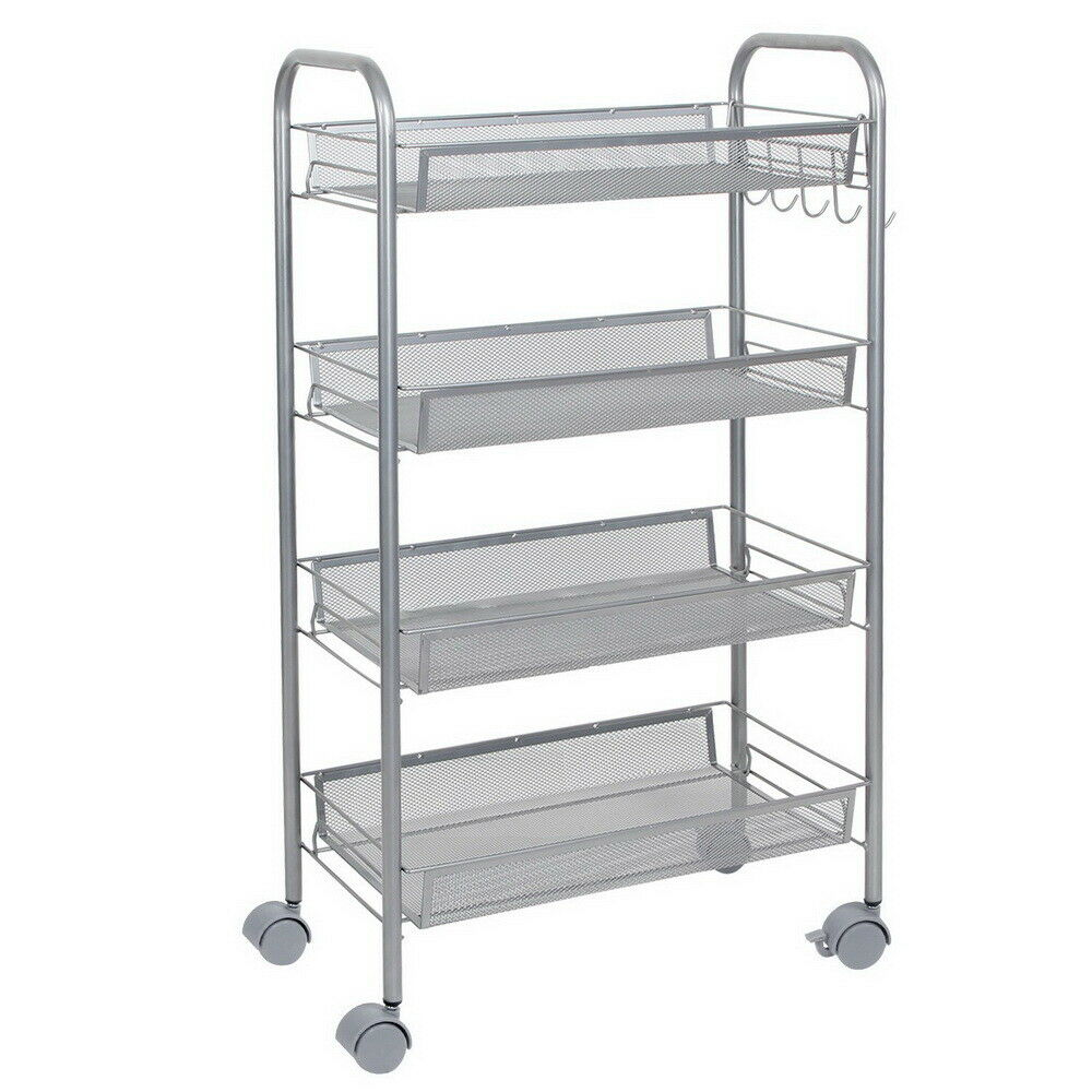 3 Basket St@llion Chrome Kitchen Bathroom Rolling Shelf Oval Storage Trolley