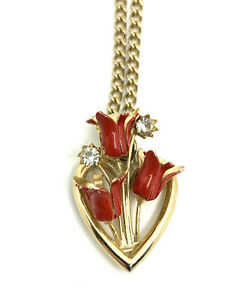Vintage Red Flower Tulip Heart with Rhinestone Pendant Gold Tone Necklace