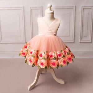2f7b67ca1f4d Flower Girl Dress Toddler Baby Birthday Party Wedding Tulle Rose ...
