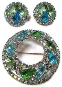 Vintage-Large-Weiss-Blue-amp-Green-Rhinestone-Brooch-Pin-amp-Earrings-All-Signed