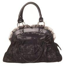 Banned Elegant Bow Skull Ivy Lace Fatale Gothic Fatale Steampunk Handbag BLACK