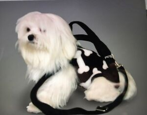 Bones Black White Pet Small Dog Carrier Harness Sling Puppy Purse
