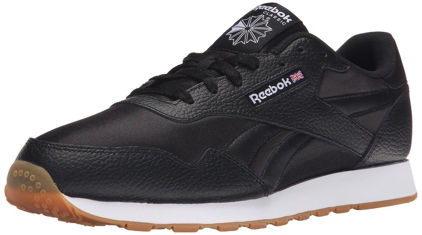Reebok Royal Nylon Black Gum Leather Men's shoes  New In Box 100% Original