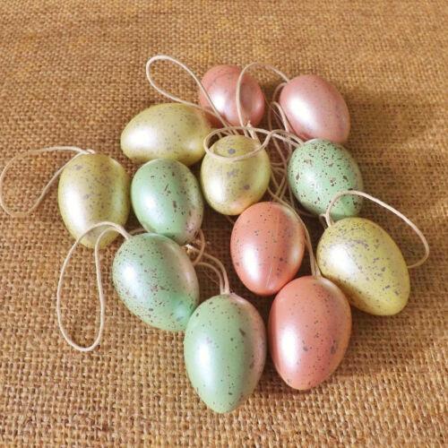 12 Rose Bleu Jaune Moucheté Perle Mini Oeufs de Pâques à suspendre décoration chasse