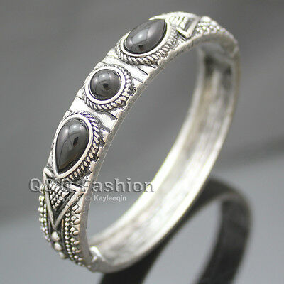 Vintage Silver Aztec Dots Triangle Black Gemstone Hinged Bracelet Bangle Cuff