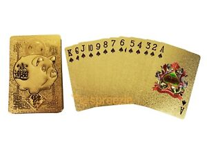 Chinese New Year Pig 2019 Gold Playing Cards 24k Plated Deck Lunar Zodiac Poker