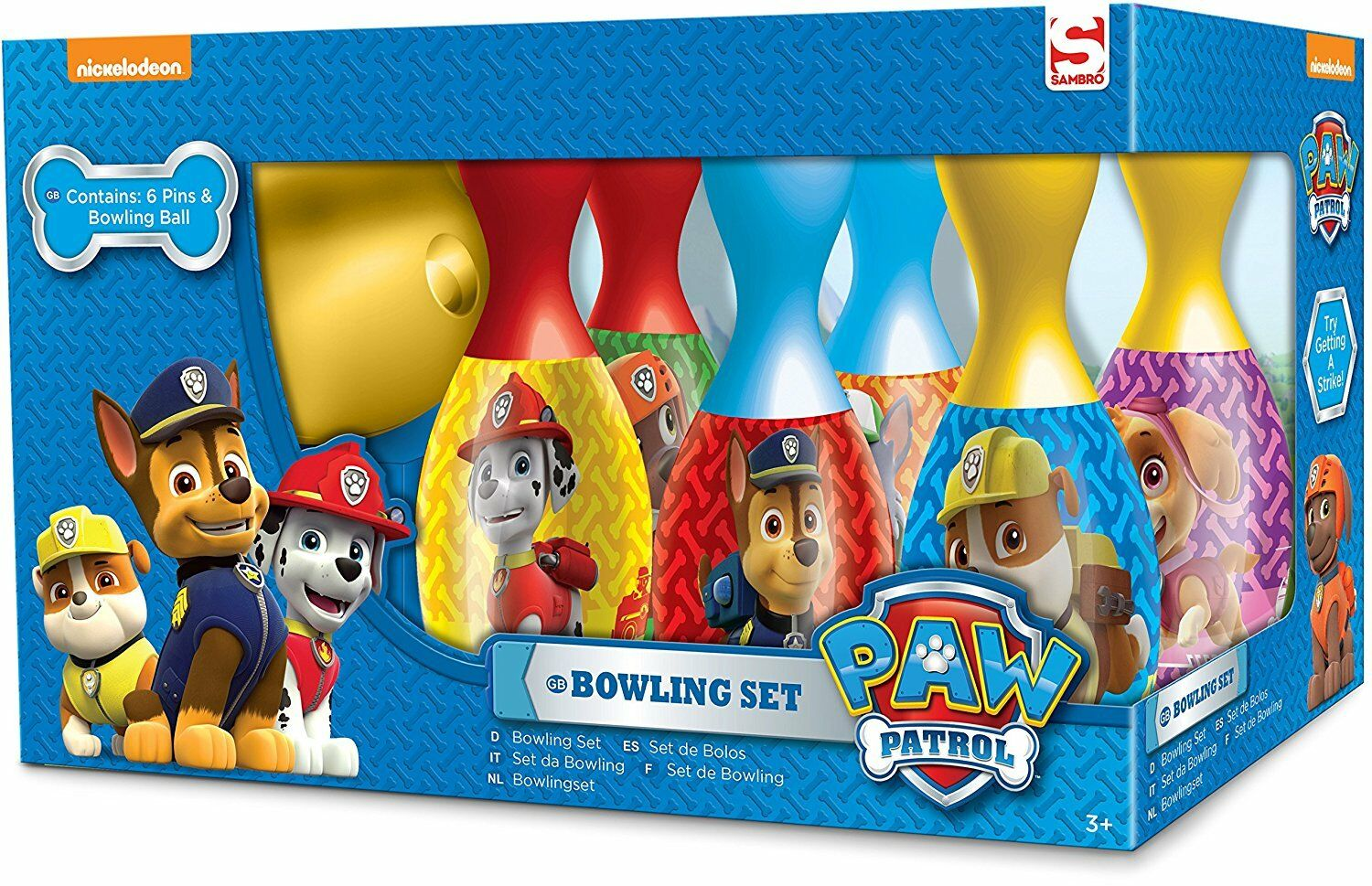 Kids Paw Patrol Bowling Set Skittles Pins Toy Indoor Outdoor Ball Game Fun Gift