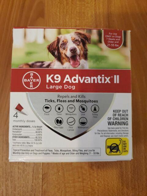 K9 Advantix II Flea Medicine Large Dog 4 Month Supply Pack  21- 55 lbs
