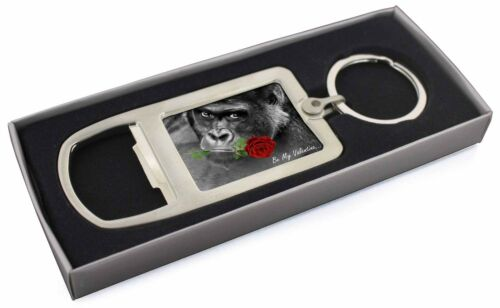 'Be My Valentine' Gorilla with Rose Chrome Metal Bottle Opener Keyring, AM20MBO