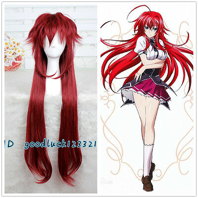 Anime High School DxD Rias Gremory Wine Red Synthetic Hair Wig Cosplay Wigs
