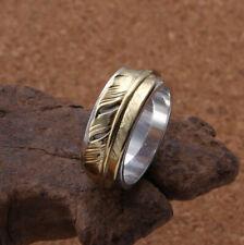 I07 Ring Sterling Silber 925 mit Feder aus Messing